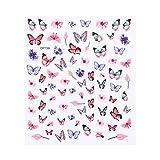 Fuyamp 3D-Laser-Schmetterlingsaufkleber für Nagelkunst, bunte Schmetterlinge und Blumen,...