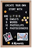 Gadgy Filz Letter Board | Mit 15 Emojis, 10 Fotoclips, 4 Fotoecken, 340 golden & 340 weie Buchstaben...