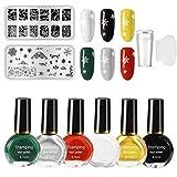 Freeorr 6 Farben Nail Art Stamping Polish Kit, Drucklack Nagelplatte Lack fr Manikre Druck 10ML, mit...
