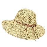 Wilxaw Strohhut, faltbar, für Damen, UV-Schutz, Stroh, Panama, Capeline breiter Rand, modisch,...