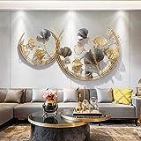 WSND Wanddeko Metall, 3D Wandschmuck Wanddeko Wandverzierung Dekoration Ginkgo- für Wohnzimmer...