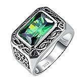 Bonlavie Herren Ring 925 Sterling-Silber Smaragd Schmuck Verlobungsring Hochzeitsring