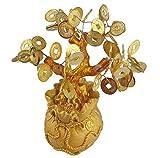 GMMH Feng Shui Glcksbaum 17 cm Geldbaum Bonsai Pfennigbaum Handarbeit Stein Gold