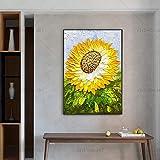 N / A Rahmenlose Malerei Hochwertige schöne gelbe Sonnenblume Leinwand Ölgemälde Malerei Home...