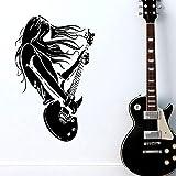 ASFGA Snger Wandtattoo Mdchen Rockmusik Gitarre Aufkleber Vinyl Wandaufkleber Poster Familie...
