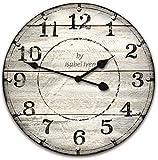 Isabel Iven Wanduhr Vintage ohne Tickgeräusche im Retro Stil mit Lautlosem Uhrwerk - Große Wand...