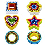 KAISHANE Ausstechformen-Set aus Kunststoff, in verschiedenen Formen (Sternform, Blumenform, runde...