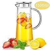 CNNIK Wasserkaraffe, 1.5L Wasserkrug Glaskaraffe Borosilikatglas Krug Edelstahl Deckel mit Sieb fr...