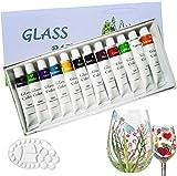 Magicdo® 12 Farben Glasfarben mit Palette, professionelle Glasfarbe Set, hochwertige ungiftige...
