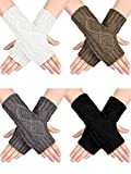 SATINIOR 4 Paare Frauen Winter Warm Stricken Fingerlose Handschuhe Daumenloch Armlinge Fäustlinge...