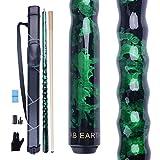 AB Earth Billardqueue-Set, ergonomisches Design, 13 mm Spitze, 147,8 cm, Ahornholz, grün, 21oz