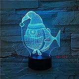 7 farbe leuchtende 3d led lampe usb nacht baby schlaf weihnachten hut fisch form nachtlicht...