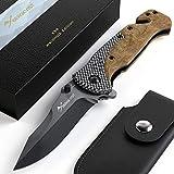 BERGKVIST® Klappmesser 3-in-1 K39 Waldholz Taschenmesser I scharfes Messer mit Holzgriff I...