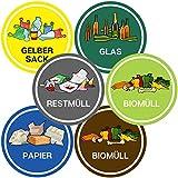Aufkleber Mülltonne für Mülltrennung (6er Set - 9,5cm - Rund) - Kinder Freundliche Motive (Gelber...