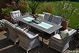 bomey Rattan Lounge Set I Gartenmöbel Set Como 6-Teilig I Essgarnitur mit Polstern I Sitzgruppe...