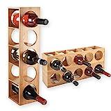 Gräfenstayn® Weinregal CUBE - stapelbar aus Bambus-Holz für 5 Wein-Flaschen zum Stellen, Legen,...