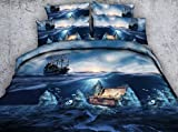 Swedife 3D Sunrise Ocean Bettwsche-Set Piratenschtze Kinderbettwsche Polyester 3-teilig blau...
