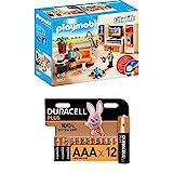 PLAYMOBIL City Life 9267 Wohnzimmer, Mit Lichteffekten, Ab 4 Jahren + Duracell Plus AAA...