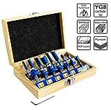 S&R Frser-Set HM, Schaft 8mm, Holzkoffer, geschmiedeter Werkzeugstahl, Schneidplatten aus HM in...