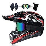 LEENY Motocrosshelme Motorrad-Off-Road-Helm Kinder Crosshelme Set mit Handschuhe/Maske/Brille,...