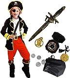 Tacobear Piratenkostüm Kinder mit Piraten Zubehöre Piraten Augenklappe Dolch Kompass Geldbeutel...