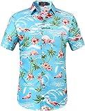 SSLR Hawaii Hemd Männer Flamingos Herren Hemd Kurzarm Freizeithemden Für Herren (Medium, Blau)