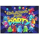 VULAVA 12x EINLADUNGSKARTEN für Party und Kindergeburtstag - die Karten im frech bunten Monster...
