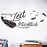 decalmile Wandtattoo Sprüche und Zitate Nimm Dir Zeit glücklich zu Sein Vögel Federn Wandsticker...