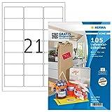 HERMA 12902 Haushalts-Etiketten DIN A4 ablösbar (63,5 x 38,1 mm, 5 Blatt, Papier, matt)...