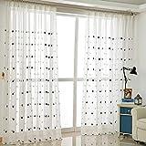 ZYY-Home curtain Stern Stickerei Voile Vorhänge Kräuselband Fensterschal Transparent Gardinen...
