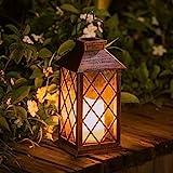 Solar Lantern Candle Solarlaterne fr auenTAKEMEURO Jahrgang Solarlampe mit Kerzen fr Auen Gartendeko...