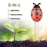 Bodentester, Boden Feuchtigkeit Meter, 3 in 1 Feuchtigkeit Sonnenlicht Boden PH-Tester für...