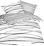 Kaeppel Mako Satin Bettwäsche Essential Motion Größe 155x220+80x80 cm Farbe Schiefer