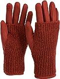 styleBREAKER Damen Touchscreen Stoff Handschuhe mit abnehmbaren Strick Stulpen, warme...
