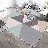 YQZS Teppich Schlafzimmer Sofa Couchtisch Teppich Geometrisches Viereck Waschbar rutschfest...