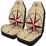 Olive Croft 2PCS Autositzbezüge Brown Nautical Compass Rose Map Altes Abenteuer Antike antike...