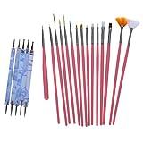 Cikuso 15 Stueck Nagelbuersten oder 5 Stueck tuepfelnd Stift Marmorierwerkzeug(15 Stueck rote 5...