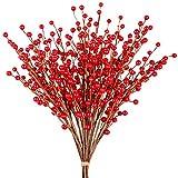 Whline 12 Stück Künstlicher Beerenzweig Rot Beerenzweig, Kunst Zweig Beeren für Weihnachten,...