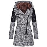 iHENGH Damen warme dünne Jacke dicken Mantel Winter Outwear mit Kapuze reißverschluss Mantel