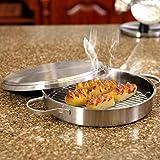 Round Backofen, multifunktional Edelstahl runde Backform mit Deckel, geeignet for den Ofen, Gasofen,...
