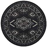 Nouristan Orientalischer Rundteppich Kurzflor Teppich Saricha Belutsch Schwarz,  160 cm