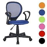 SixBros. Bürostuhl Drehstuhl Schreibtischstuhl Blau/Schwarz H-2408F/2059