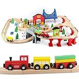 Jacootoys 80 Teile Holzeisenbahn Set Eisenbahn aus Holz Zug Spielzeug kombinierbar...