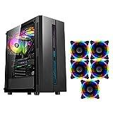 HDYD ATX Case Mid-Tower-Desktop-Computer-Gaming-Hülle USB 3.0-Ports Transparente Glasscheiben...