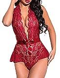 untlet Sexy Body Lingerie Damen Bodys Dessous V Ausschnitt Erotic Overall Bodysuit Spitze...