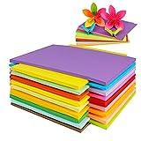 Origami-Papier, A4, bunt, faltbar, quadratisch, 20 Farben, 100 Stück