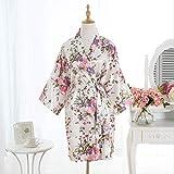 XFLOWR Damen Kurzes Satin Sakura Kimono Floral Bademantel Morgenmantel Pyjama Floral Hochzeit...