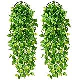 YQing 2 Stück Künstliche Hängepflanze, Knstpflanze Hängend Efeu Pflanze Weinreben Farne für...