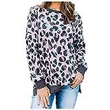 SHOBDW Leoparden Oberteil Damen Pullover Damen Lang Große Größen Basic Shirt für Damen...