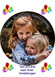 Essbares Foto fr Torten, Tortenbild, Kindergeburtstag, Tortenaufleger mit eigenem Foto und Text frei...